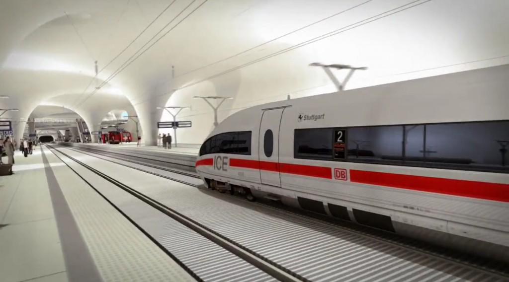 Einfahrt in den neuen geplanten Hauptbahnhof von Stuttgart