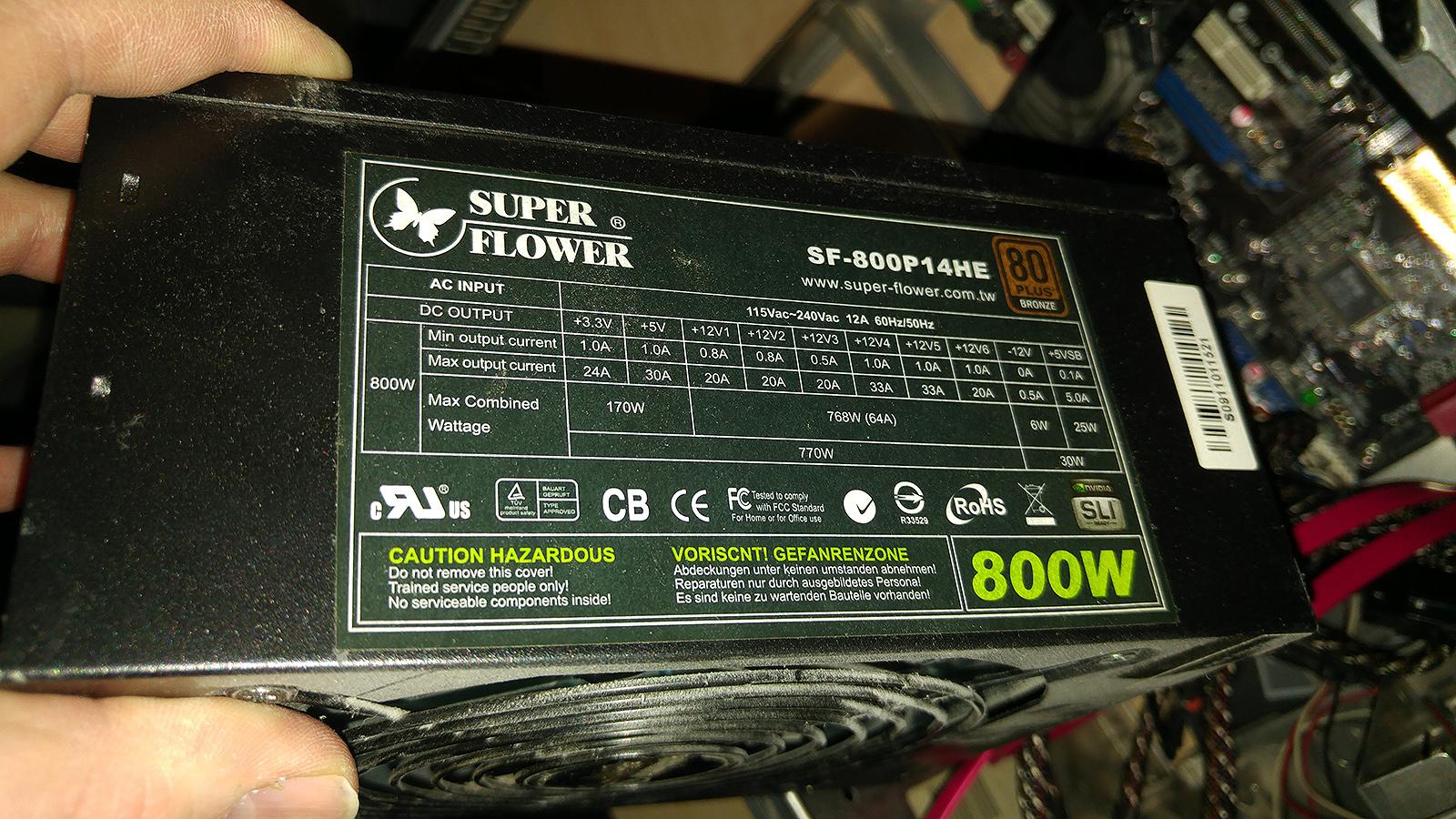 Mein PC Netzteil 800 Watt von Superflower (80plus Effizienz)