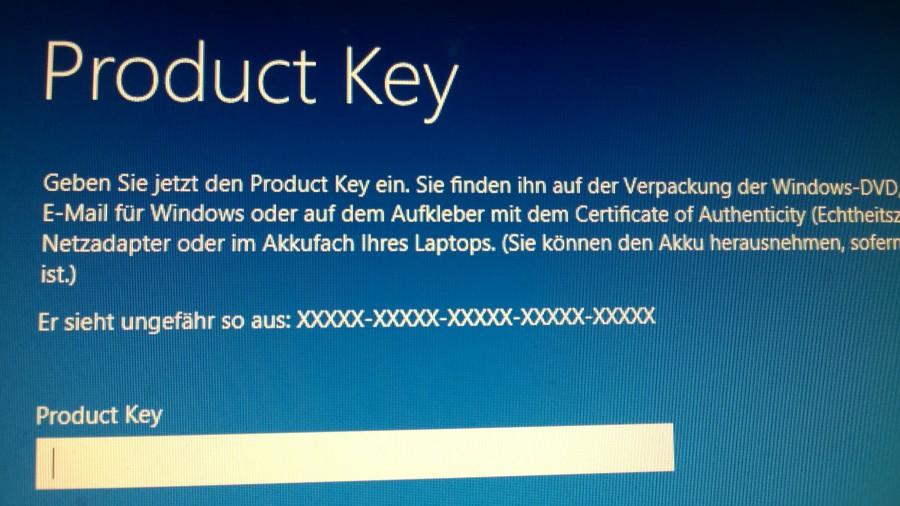 Bitte validen Key eingeben