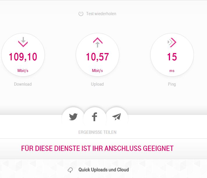 Telekom DSL Speedtest